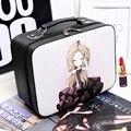 Mujeres de la manera caja de maquillaje Profesional de Alta Calidad de dibujos animados lindo espejo Cosmético caja De Almacenamiento de Gran Capacidad de bolsa de Viaje Maleta