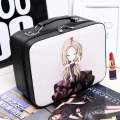 Women fashion cartoon Professional makeup box High Quality cute mirror Cosmetic bag Travel Storage case Large Capacity Suitcase