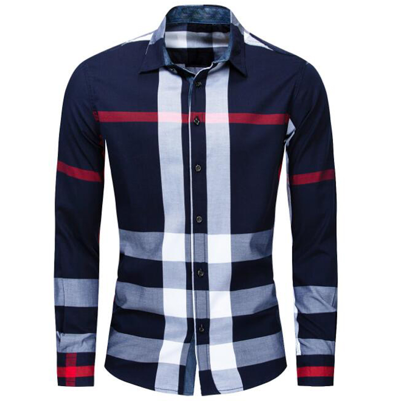 Image 2 - NEW shirt Business casual autumn long sleeve men shirts High quality brand 100% cotton plaid shirt men Plus Size chemise hommeCasual Shirts   -