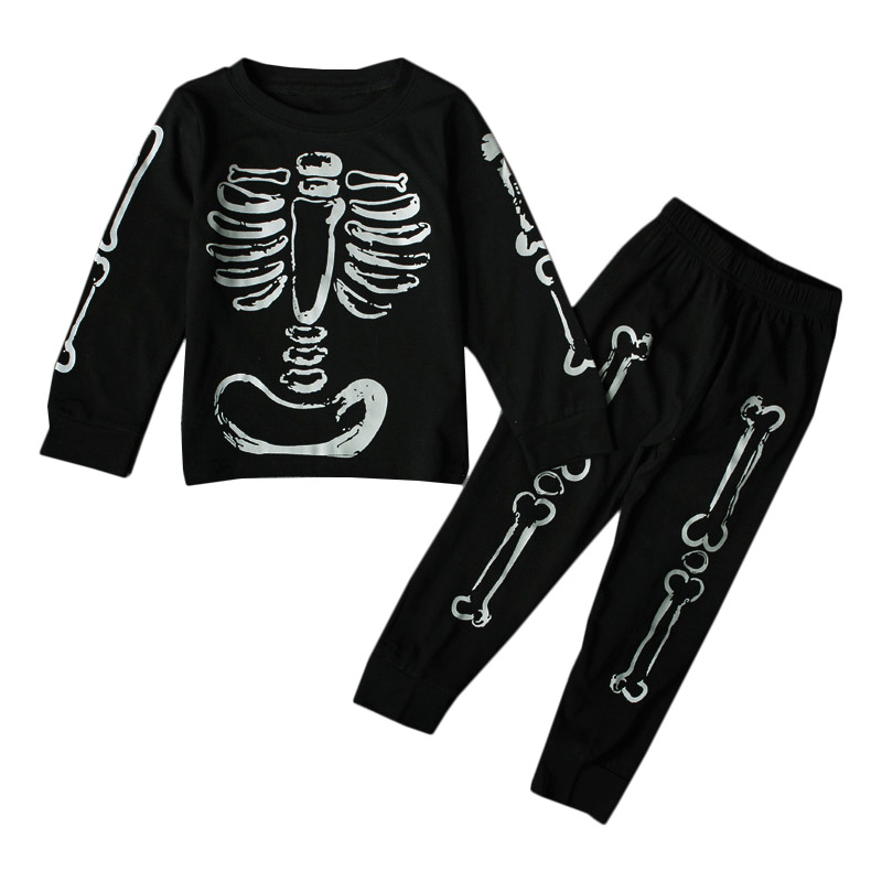 1-6Y Newborn Kids Boy Clothes Sets Toddler Boys Black Skull T-Shirts +Long Sleeve Pant 2pcs Outfits Skeleton Kids Clothing Set airsoft adults cs field game skeleton warrior skull paintball mask