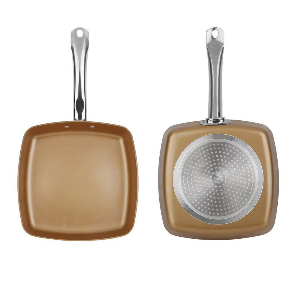 2pcs Copper Coating Bottom Frying Pans Non-Stick Square Grill Pan Multifunction Cookware Set Kitchen Cooking Tools
