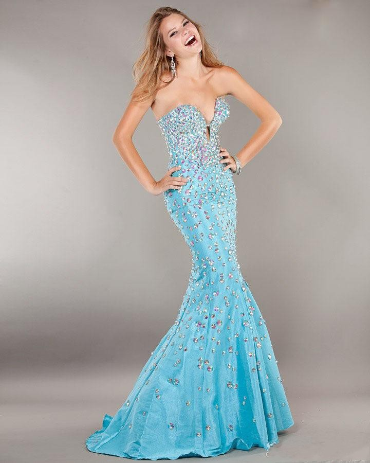 Потрясающие русалка пром платья глубокий сердечком сексуальный шифон роскошь вышивка бисером кристалл минимальный уровень длина длинная пром ну вечеринку вечерние платья - Цвет: Синий