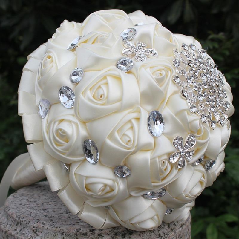 Hnadmade Marfim Color Marfil Flores Artificiales Ramos Flores - Para fiestas y celebraciones - foto 3