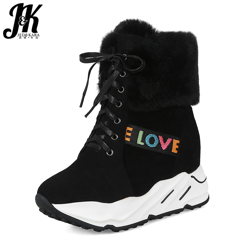 JK Winter High Heels Ankle Women Boots Fur Flock Footwear Fashion Casual Female Boots Lace Up Platform Insert Women Shoes 2018 lace insert crop top and lace insert skirt twinset