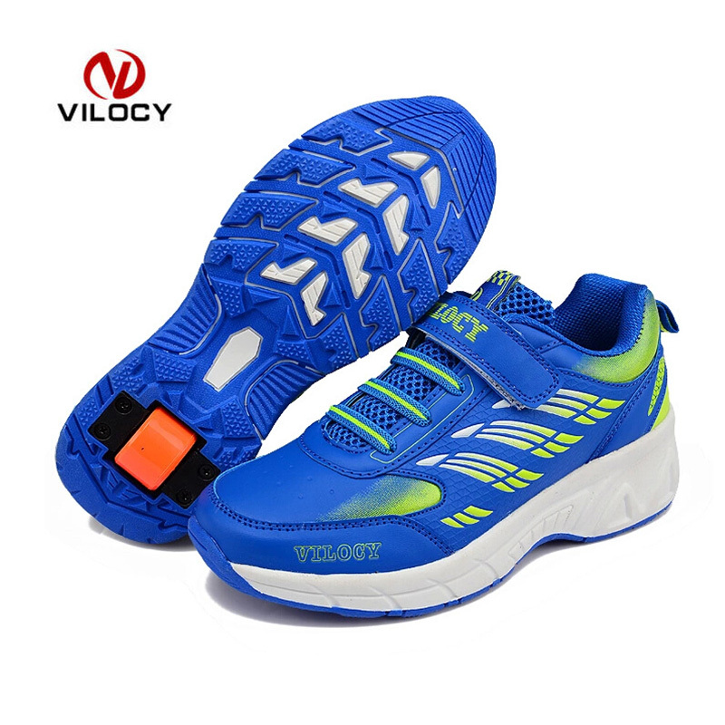 ФОТО Roller Shoes With Wheels High Quality Sneakers Kids Brand Girls Boys EU31-41 Zapatos Ninos Breathable Sport Zapatos Roller Shoes