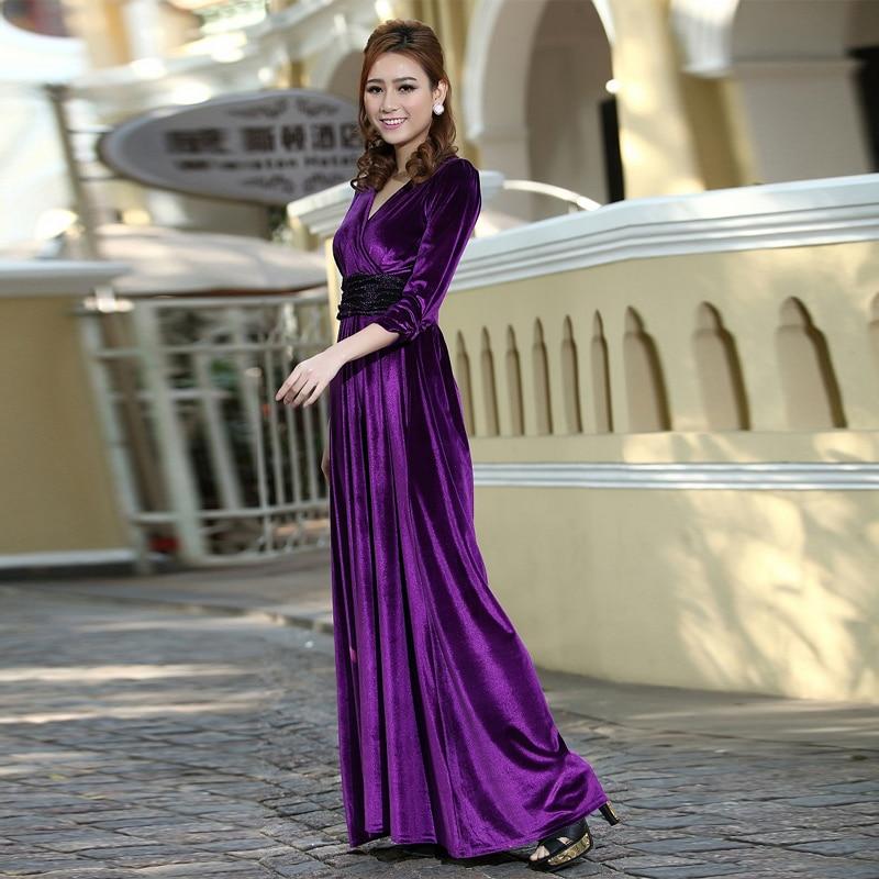Purple Long Sleeve Velvet Dress