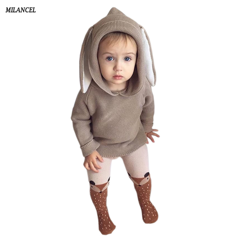 Autumn Baby Boys Sweaters 3D Rabbit Cotton Pullover Kids Girls Knitted Sweater Bunny Jumpers Girls Boys Cardigan Wholesale rabbit print pullover
