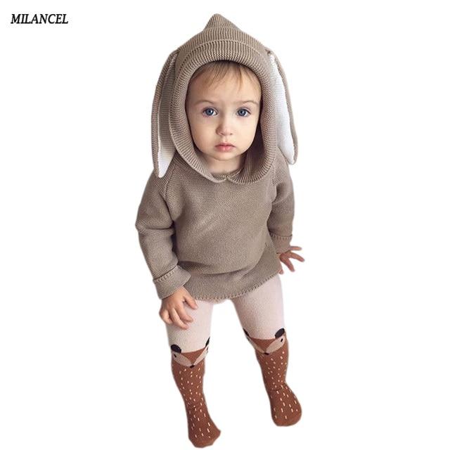 a64da9df22e3 Winter 2018 Boys Sweater 3D Rabbit Bunny Pullover Kids Girls Knitted ...