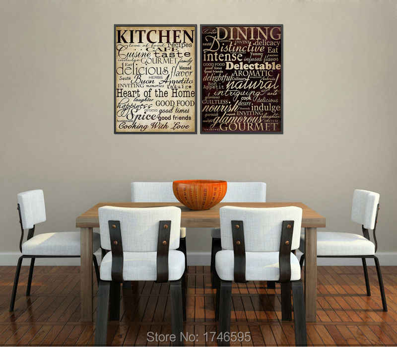 Vintage poster house mural home decor letters picture for kitchen room  dining room wall decor printed oil Painting on Canvas art