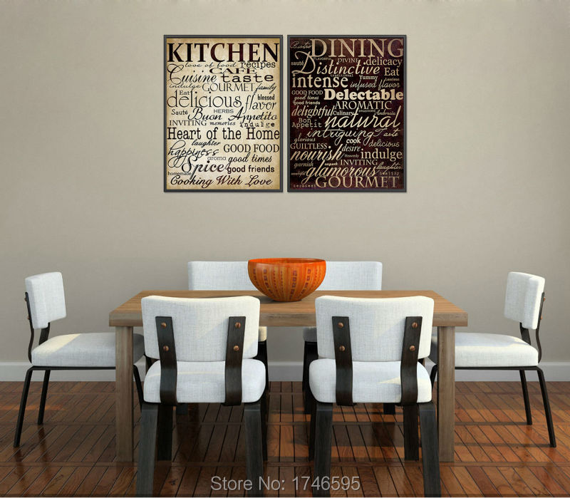 US $13.7 51% OFF|Vintage poster house mural home decor letters picture for  kitchen room dining room wall decor printed oil Painting on Canvas art-in  ...