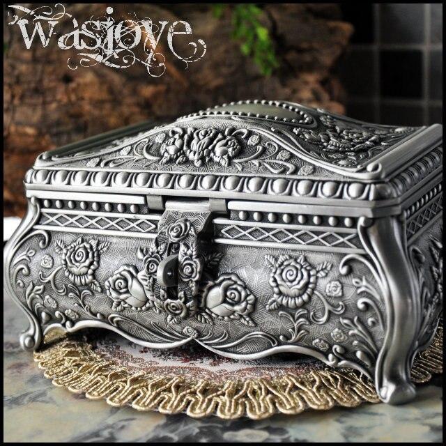 Big Size High Quality Vintage Flower Carved Zinc alloy Metal Trinket Box Jewelry Box Necklace Pendant