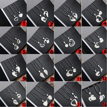 Fashion 1 Pair Titanium Steel Heart Shape Pendant Necklaces Men Women Couple Lover I Love You Necklace Jewelry Gifts 19 Styles