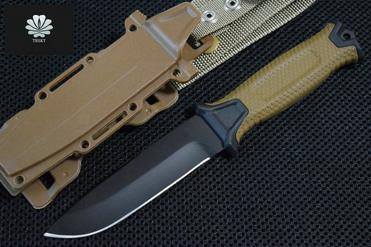 Trskt 1500 12c27 Steel , ABS + Nylon Sheath, Fixed Blade Hunting knife Camping Survival Knives Outdoor EDC Tools Dropshipping нож oc3 fixed 6 072 sk5 black blade resin infused fiber handles glass reinforced nylon sheath