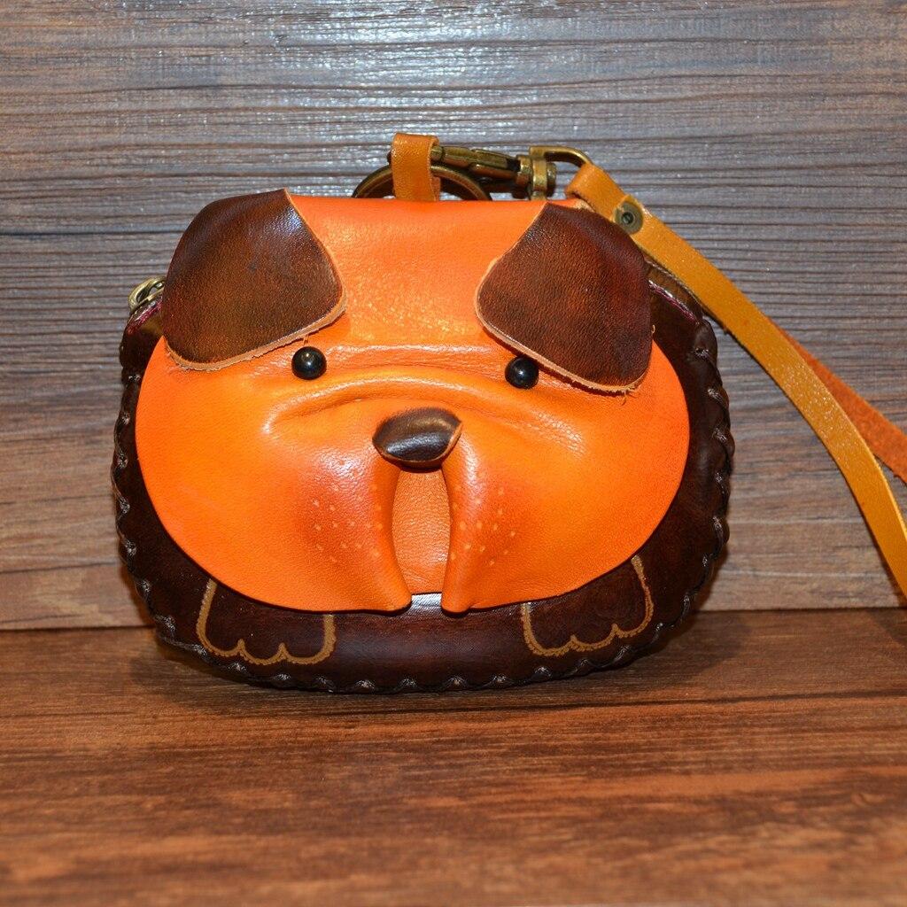 2018 Echt Heiße Tier Drucke Verkauf Echtem Leder Unisex Dame Tier Drucke Handgemachte Brieftasche Mini Geldbörse Niedliche Weibliche Belldog