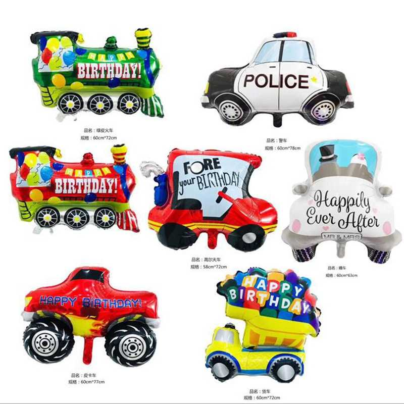 1pcs Big Toy Car Foil Ballon Kids Baby Shower Boy Tank Ambulance Bus Fire Truck Birthday Party Decoration Train Cars Balloons