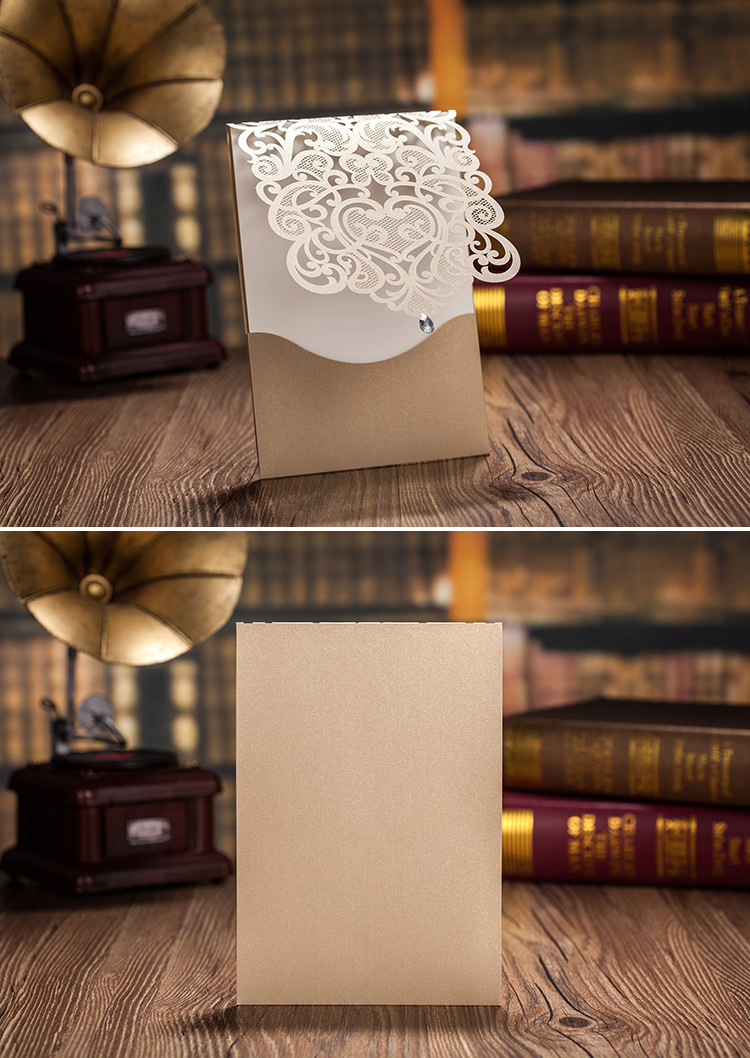 WishMade hollow Champagne gold Wedding Invitations cards with ...