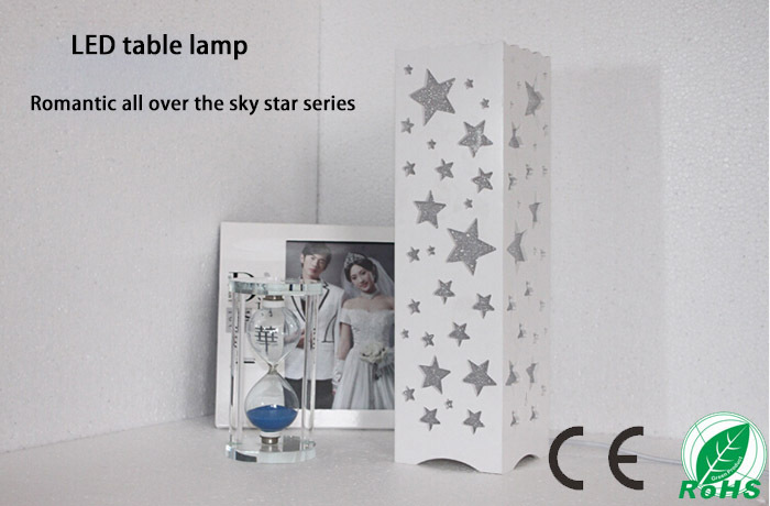 ФОТО All over the sky star design table lamp,AC85-265V 5W The white square abajur for Bedroom living room study