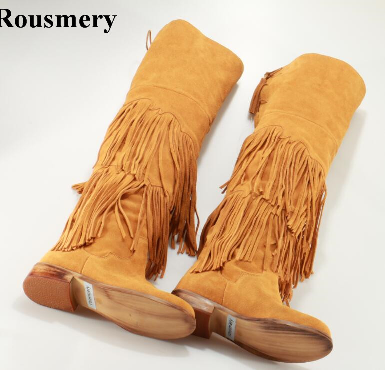 Women Winter New Design Round Toe Long Tassels Back Zipper Over Knee Flat Boots Suede Leather Long Comfortable Snow Boots