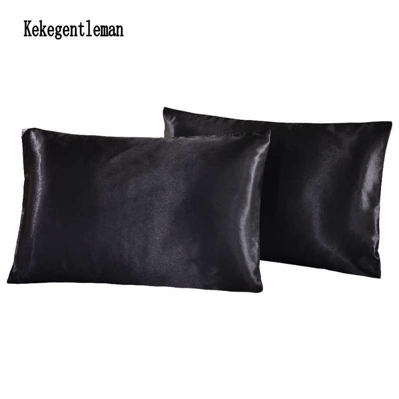 2PCS Bedding Silk Pillowcases Satin Faux Silk Pillow Case Pillow Cover Solid Color Standard Queen Full King Russia US Size