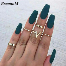 Rscvonm 5 шт./компл. в стиле «панк-рок» золото Стек Обычный Группа миди до середины кольца на фаланг пальца Набор для Для женщин кольцо среднего пальца тонкое кольцо моды