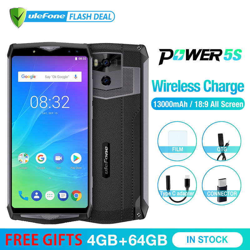 Ulefone Puissance 5S 13000 mah Mobile Téléphone Android 8.1 6.0 FHD MTK6763 Octa Core 4 gb + 64 gb 21MP Visage ID Sans Fil Charge Smartphone