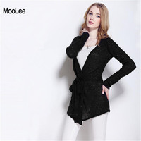 Black Cardigan Women Sweater Spring Autumn Korean Women Casual Long Knitted Loose Sequin Belts Sweater Vestidos