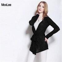 Black Cardigan Women Sweater Spring Autumn Korean Women Casual Long Knitted Loose Sequin Belts Sweater Vestidos