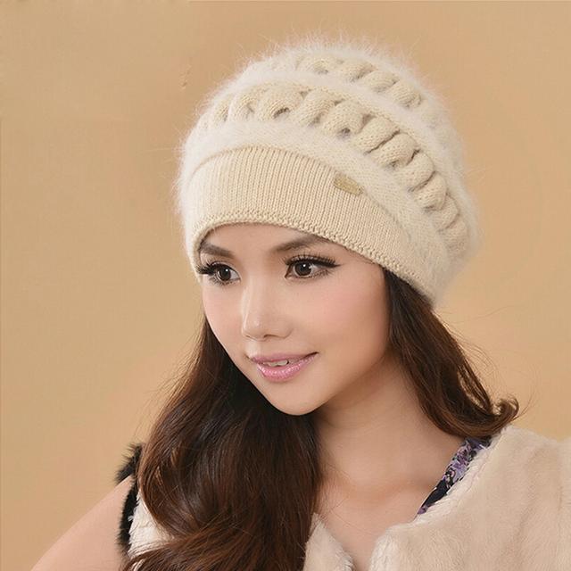 Mulheres Chapéus de Inverno Gorros Feminino Engrossar Malha De Lã Chapéu Gorro de Pele de Coelho Térmica Earmuffs Caps Gorros Casuais