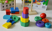 New wooden toy Color Piling Ring Educational Baby Free shipping