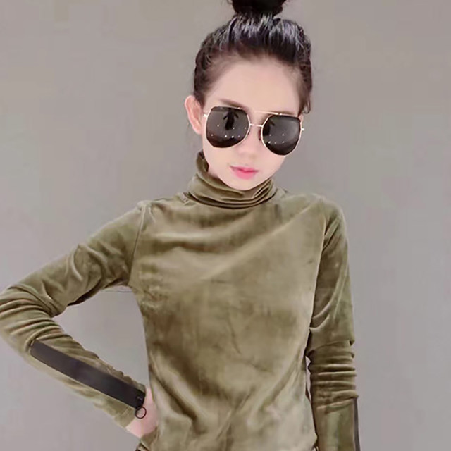 2018 Woman Velvet Warm Bottoming Half Turtleneck Pullover Sweaters New Fashion Fall Korean Long Sleeve Pullover Sweater 15