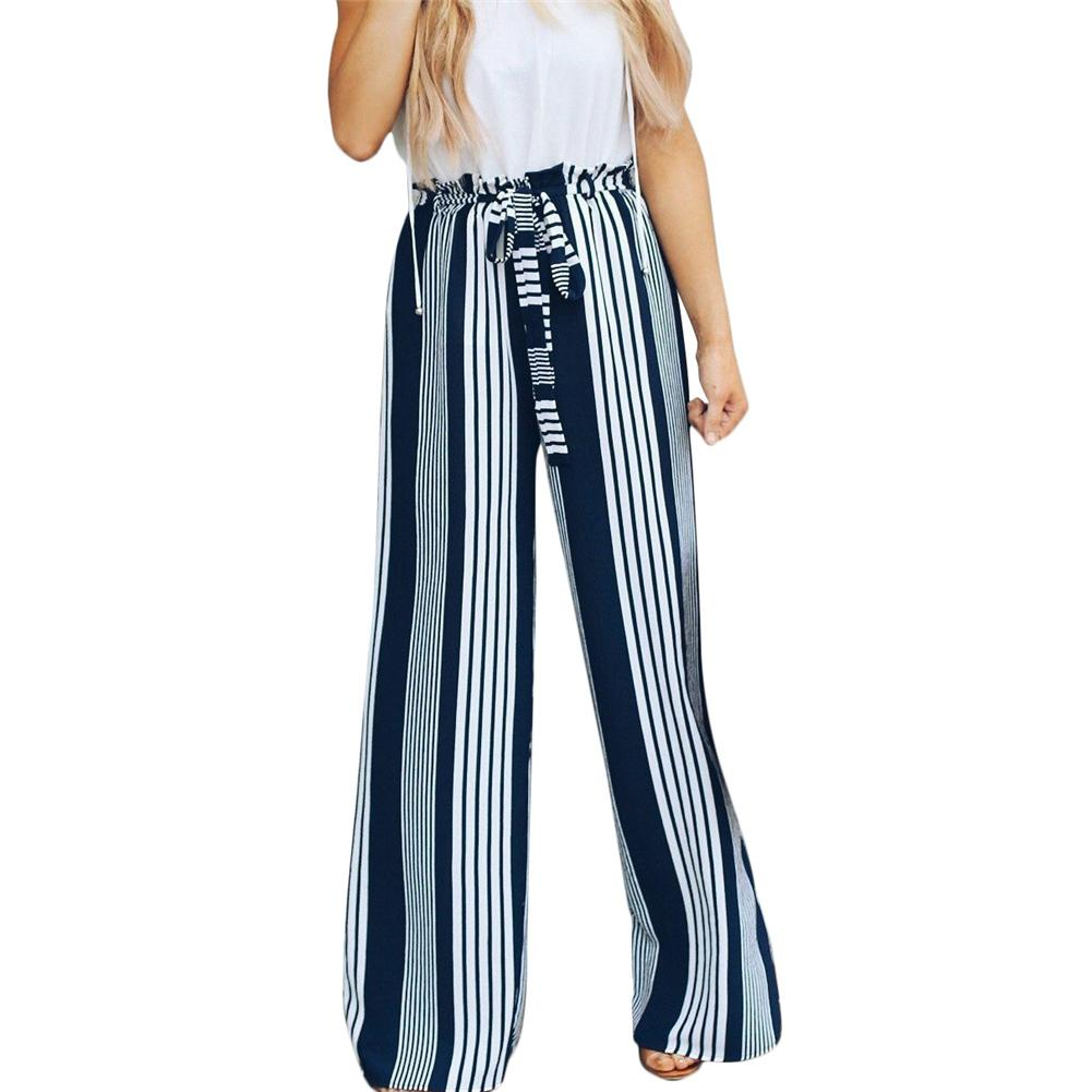 Women's High Waist Stripe   Wide     Leg     Pants   Slim Flattering Thin Casual Belt Straight-  leg     Pants     Wide     Leg     Pants   Female Trousers