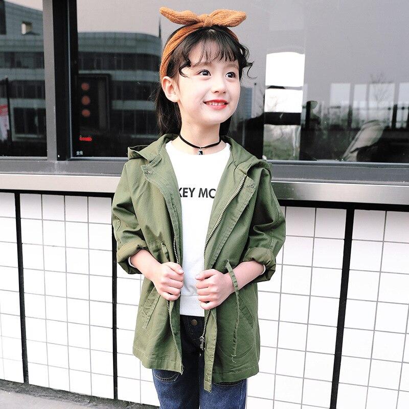e7c98e95e718 Korea Style Girls Jacket Autumn Kids Army Green Color Hooded Long ...