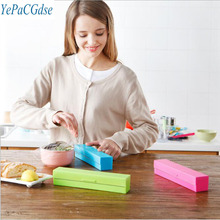 Creative kitchen supplies cling film cutter stainless steel blade cling film cutting box kitchen gadgets best price stainless steel cling film sealing machine food fruit vegetable fresh film wrapper cling film sealer packaging