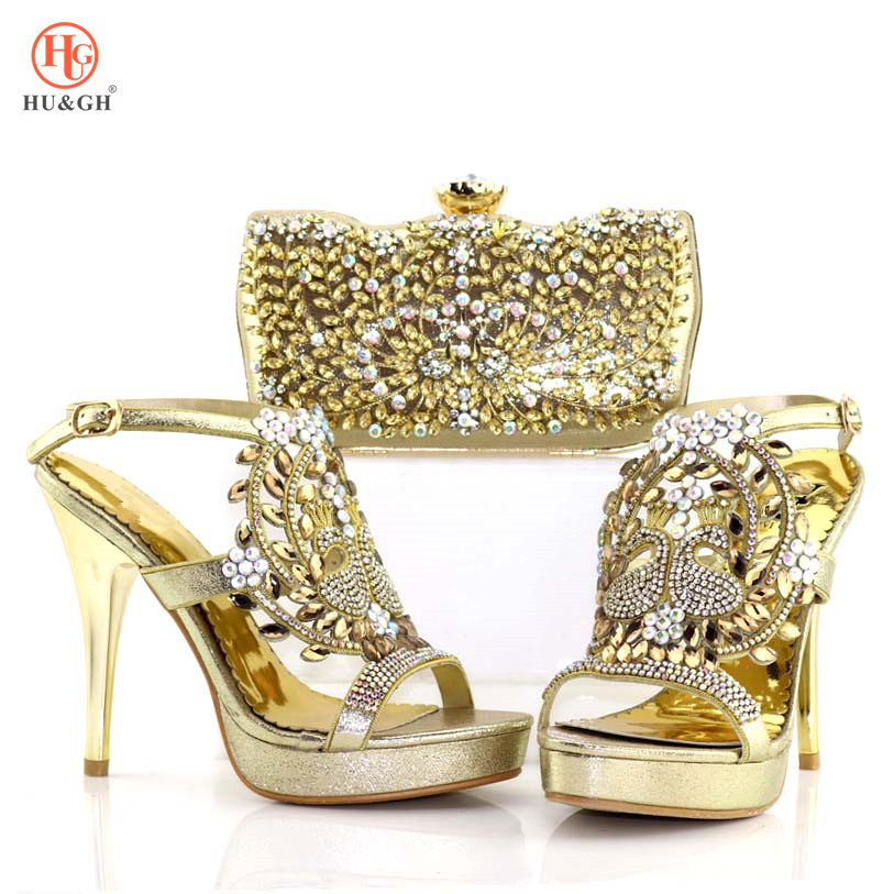 New Ladies Italian Shoes And Bag Set Summer Gold Color African Shoes And Matching Bags Nigerian Wedding Shoes And Bag For Party