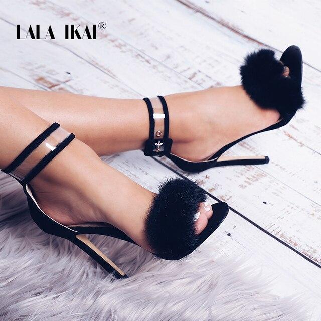 d3857b0e976a2 LALA IKAI Woman Sandals Transparent High Heel Ankle Strap Faux Fur Wedding  Pump Fashion Party Shoes sapato feminino 014C0858 -49
