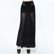Gothic Black Perspective Long Skirt Punk Super Sexy Women Stretch Slim Fit Skirts Flower Patterns Long Skirts(China)
