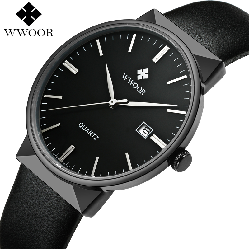 2017 Brand Luxury Men Leather Waterproof Sports Watches Men's Quartz Casual Wrist Watch Male Black Clock WWOOR relogio masculino top brand wwoor men stainess steel business black watches men s quartz sports wrist watch male casual clock relogio masculino