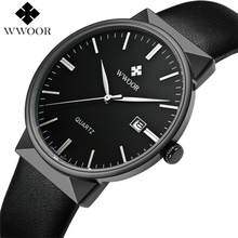 2017 Marca de Lujo de Los Hombres de Cuero Impermeable Relojes Deportivos hombres Reloj de Cuarzo Reloj Casual Reloj Hombre Negro WWOOR relogio masculino