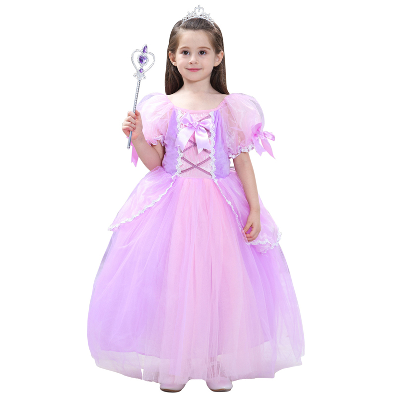 Kids Renaissance Rapunzel Princess Dresses Costumes For Girls Halloween Ball Gown Birthday Wedding Party Cosplay Size S-XXL