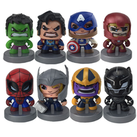 8pcs Avengers Marvel Action Figures Iron Man Thanos Captain America Hulk Hulkbuster Thor Black Panther Spiderman Figure Toys