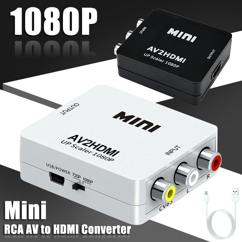 Mayitr Mini RCA AV to HDMI Converter Adapter Professional AV2HDMI Converter Box 1080P HD 2Colors