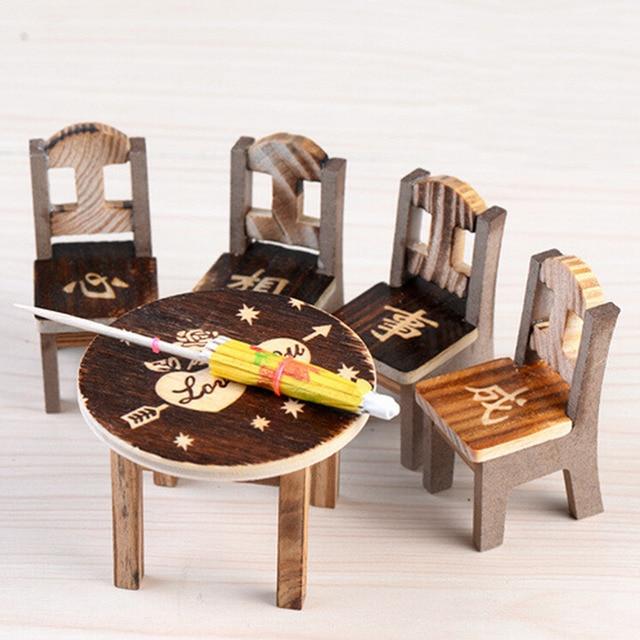 Beau 1pcTable 4pcs Wooden Dollhouse Miniature Furniture Mini Dining Room  Ornaments Table Chair Miniature Craft Landscape Garden