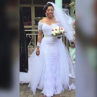 Nigeria Mermaid Wedding Dresses With Detachable Train White Long Sleeves Garden Beach Wedding Dress Vintage Scoop Applique Bride