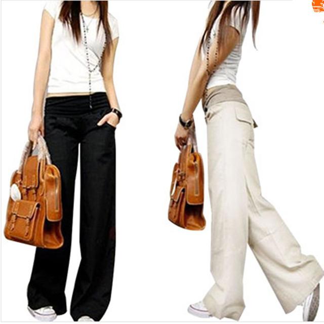PIKB 2016 Mejor Actualizado ENVÍO OEM de lino pantalones de Lino elástico cintura pantalones anchos de la pierna pantalones casuales top pantalones rectos flojos pantalones