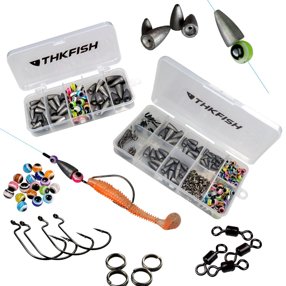 64pcs 219pcs Fishing Tackle Box Texas Rig Accessories Lead Bullet Weight For Fishing Hook Swivels Sinkers Fish Eye Beads Kit