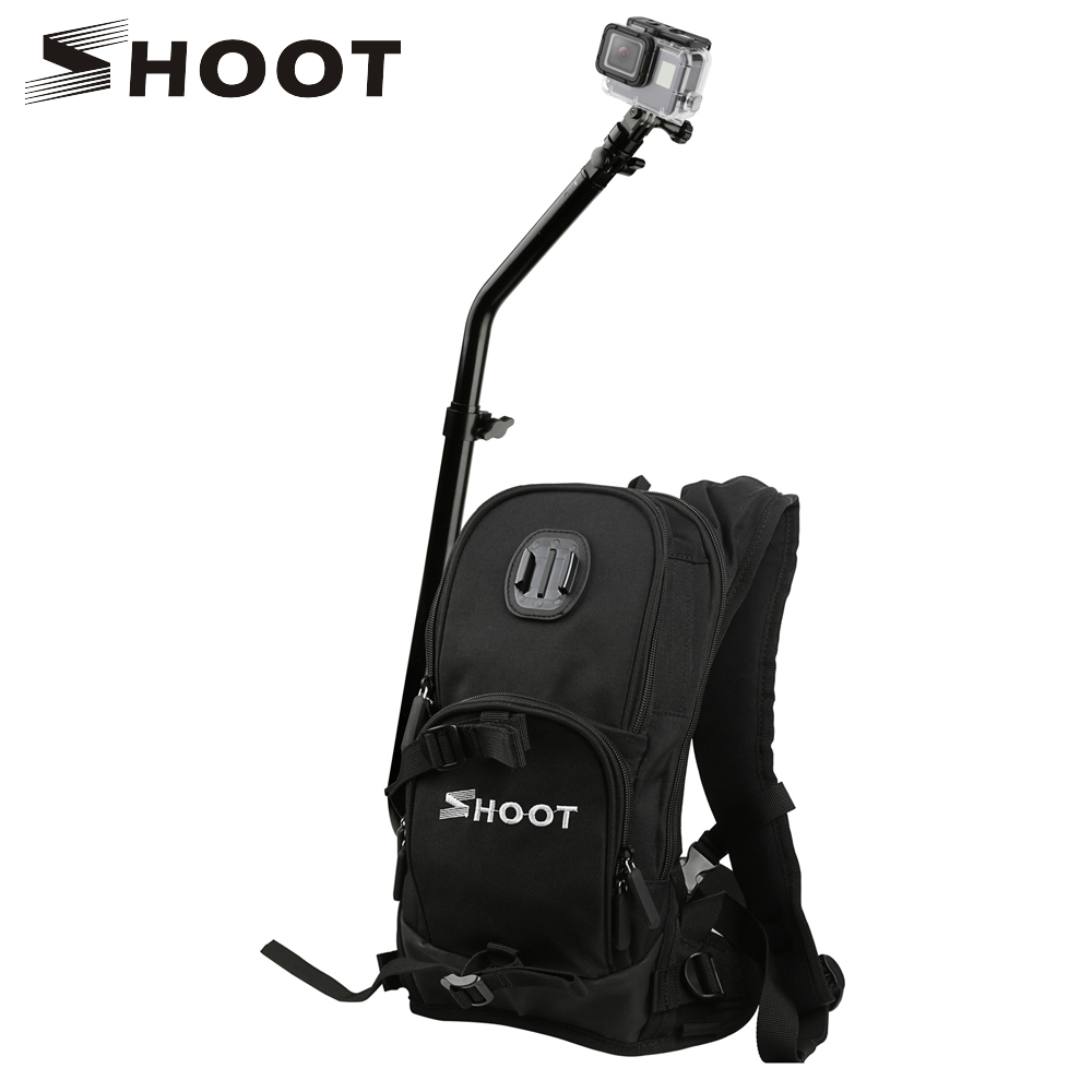 SHOOT Motorcycle Bicycle Selfie Backpack for GoPro Hero 5 6 7 Session Yi 4K Sjcam Sj4000 Camera Backpack with Cycling Pole Stick
