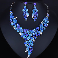 Wedding Jewelry Multicolor Crystal Rhinestones Flower Necklace Earrings set for Women African Bridal Jewelry sets Fashion Jewelry
