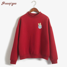 Kawaii Pocket Kitten Printed Long-sleeve Sweatshirt Harajuku Style Women Autumn Cute Thick Hoodies Loose Casual Cartoon Pullover