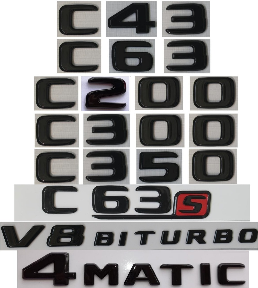 Flat Gloss Glossy Black Trunk Letters Emblem Emblems Badge For Mercedes Benz C43 C63 C63s C300 C350 4MATIC AMG V8 BITURBO 2017+