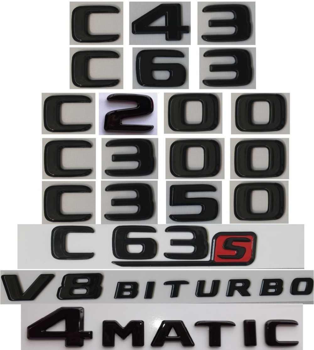 C43 Gloss Black For Mercedes Benz W204 W205 C43 C63 S AMG C200 C220 C240 C250 C300 C350 C320 4MATIC Trunk Rear Star Emblems Badges